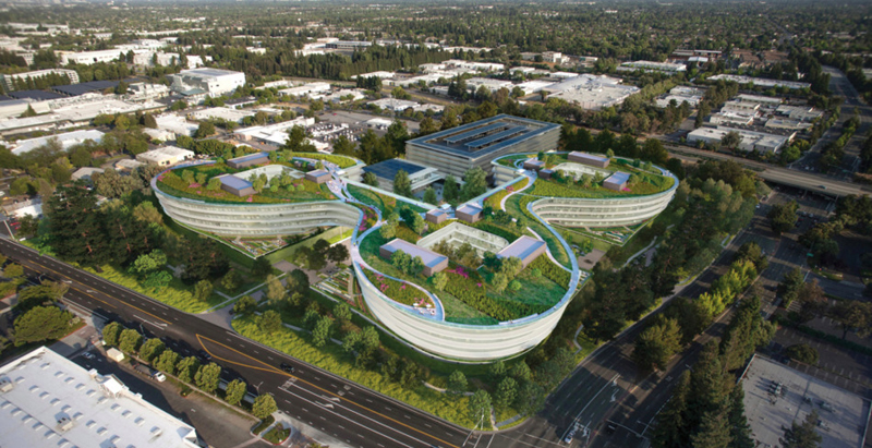 Renderings revealed for proposed curvy and lush second office for Apple
