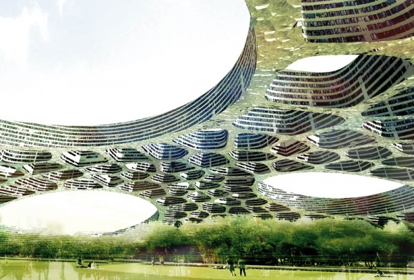 The Flat Tower design is based on a medium-height dome structure that covers a l