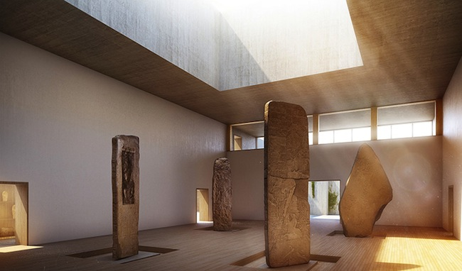 Drawing inspiration from traditional temple architecture, a monolithic box will