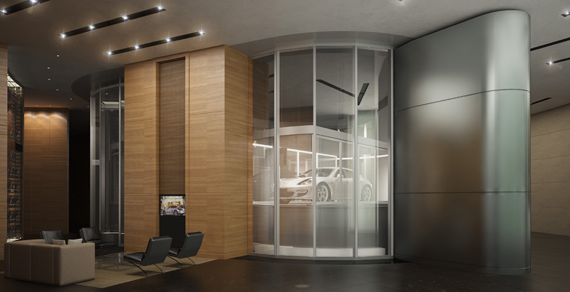 Of Sky Garages and Dezervators:  Porsche Design Tower sets a new standard of cool with the help of fire rated glass