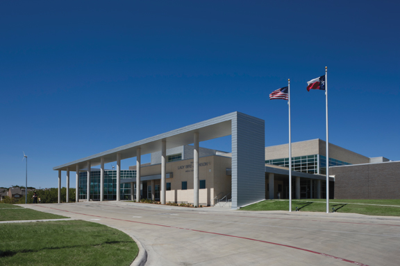 The $29 million Lady Bird Johnson Middle School, in Irving, Texas, isat 152,000