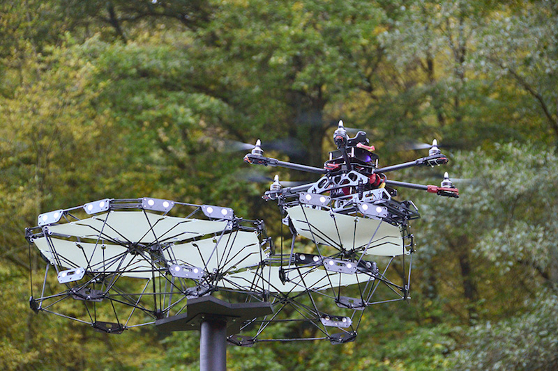 Drone reconfiguring the canopy system