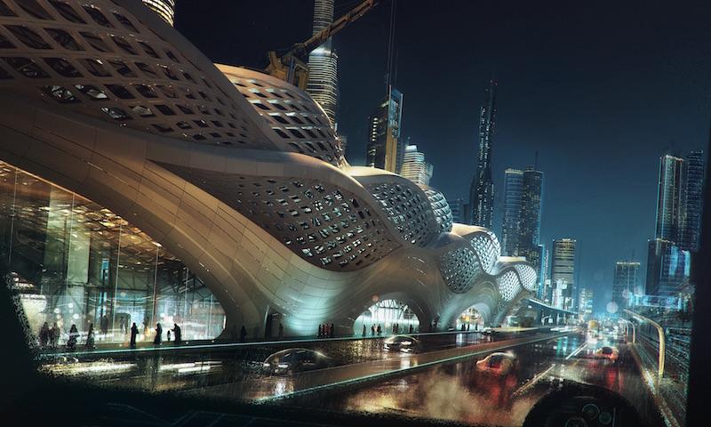 The futuristic undulating facade of the KAFD metro station