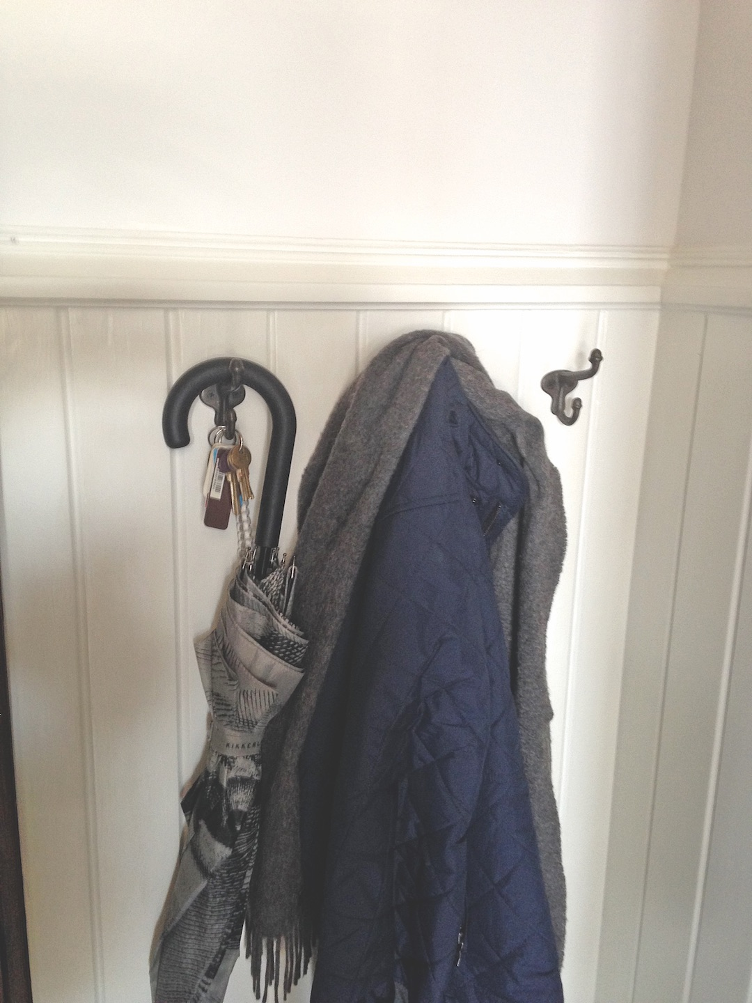 Coat hooks reclaimed from children's cloakrooms