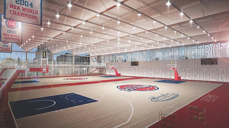 A rendering of the practice court at the Detroit Pistons Performance Center