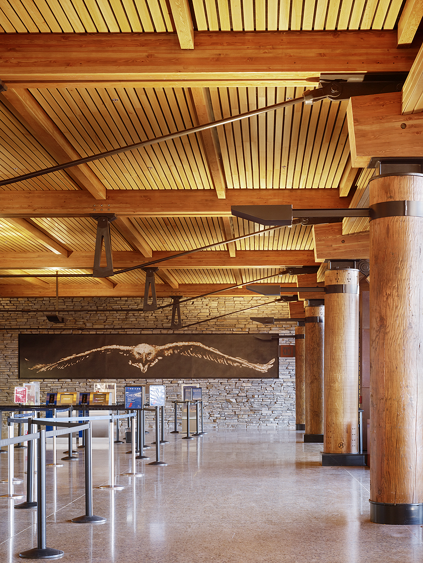 Exposed Glulam Beams ~ Exposed glulam framework offers quiet complement to