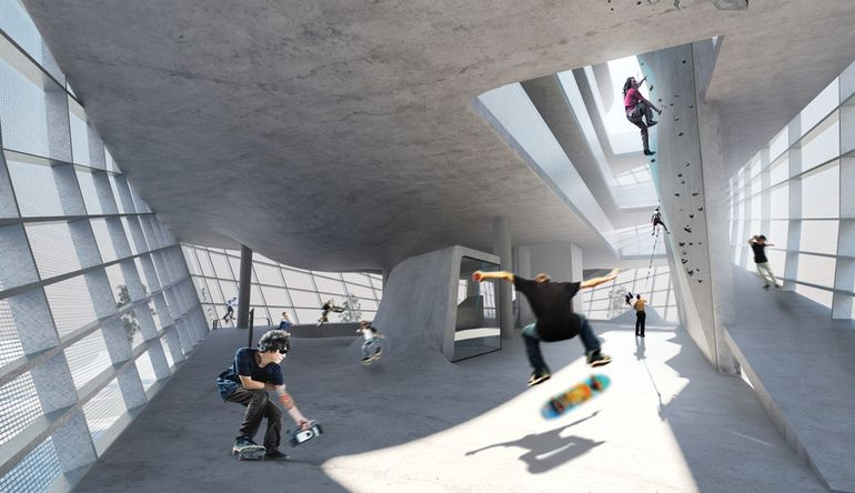 Guy Holloway proposes multi-level urban sports park for skaters