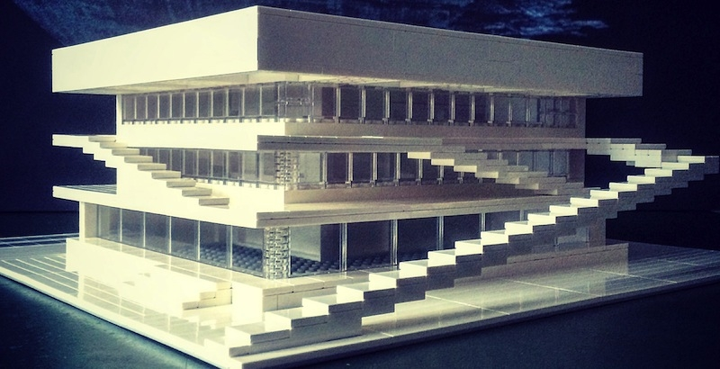 German artist recreates brutalist buildings with LEGO blocks