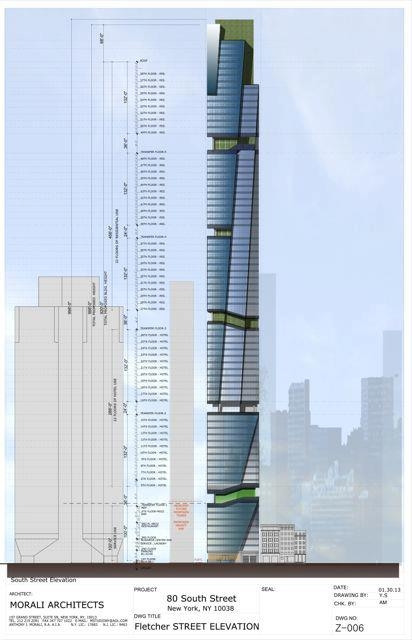 A new design for 80 South Street in New York City includes multiple vegetative r