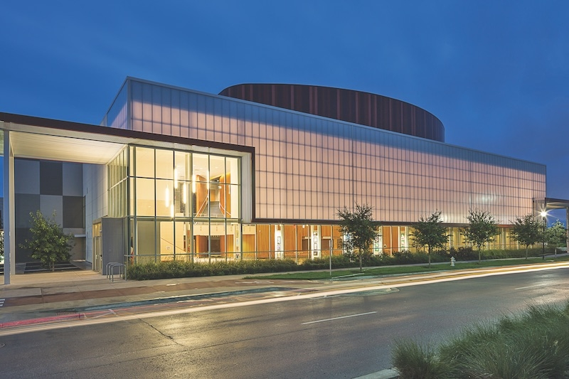 The exterior of the Austin Independent School District Performing Arts Center