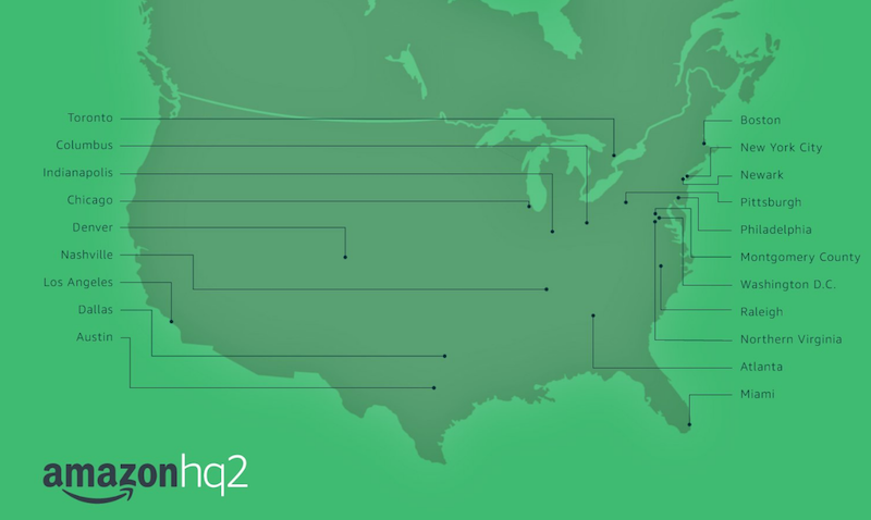 The 20 finalists for Amazon's HQ2