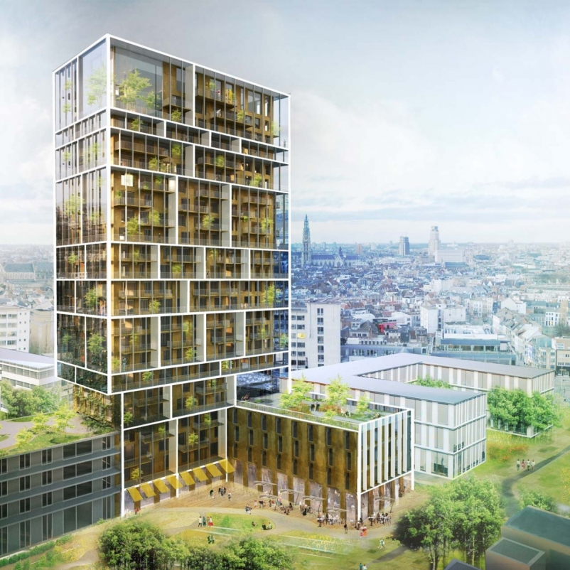 The design is of a classic residential high-rise that is encapsulated by a layer