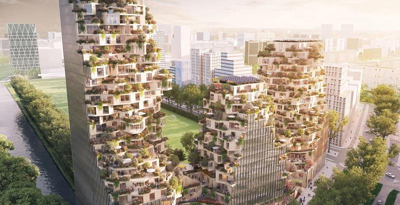 High-rise, green village, vertical, Amsterdam, Zuidas, Netherlands, MVRDV