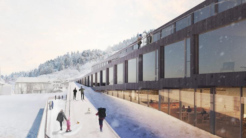 Guests ski down the Audemars Piguet hotel des Horlogers