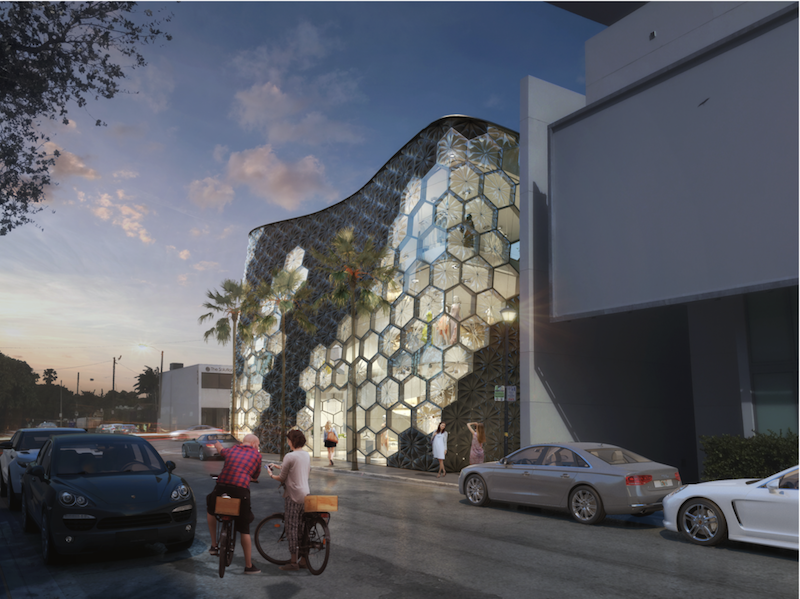 Rendering of the exterior of The Verge Building at dusk