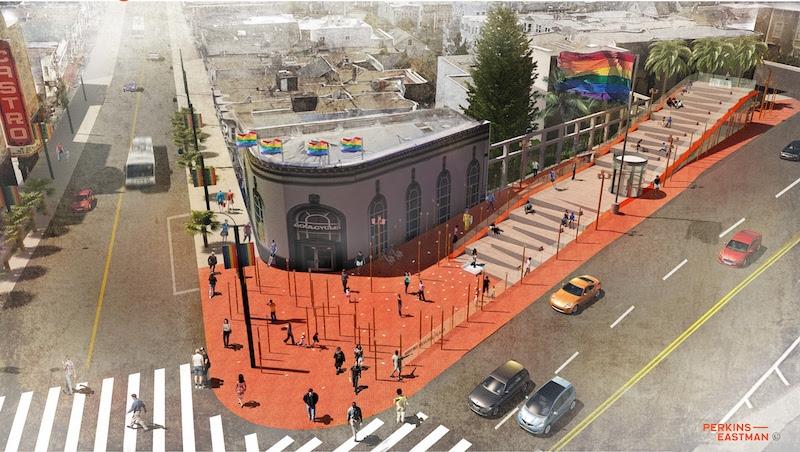 A rendering of the reimagine Harvey Milk Memorial Plaza from Perkins Eastman