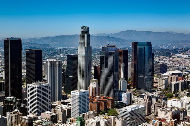 The downtown LA skyline