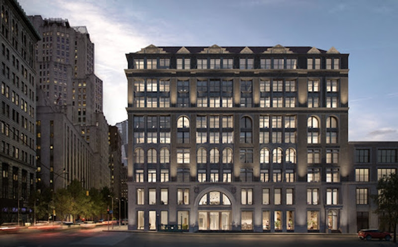 A rendering of the updated exterior of 287 Park Avenue South from Spagnolo Group Architecture