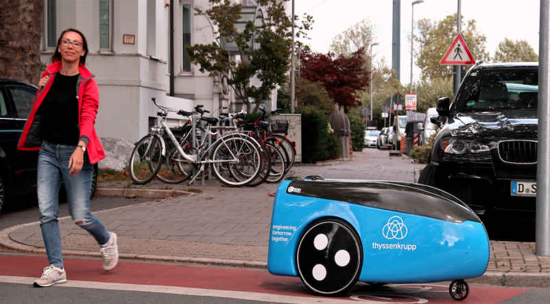 thyssenkrupp tests self-driving robot for 'last mile' delivery of elevator parts
