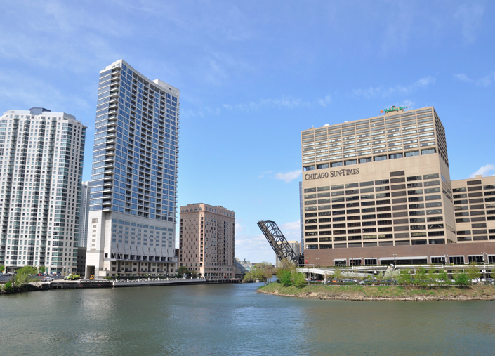 Wolf Point , the beginning of the Chicago Rivers South Branch.