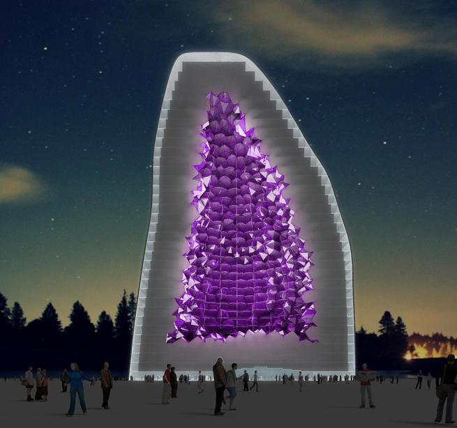 Crystalline Amethyst Hotel Rendering NL Architects