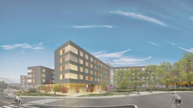 Exterior rendering of Stadium Drive Residence Halls