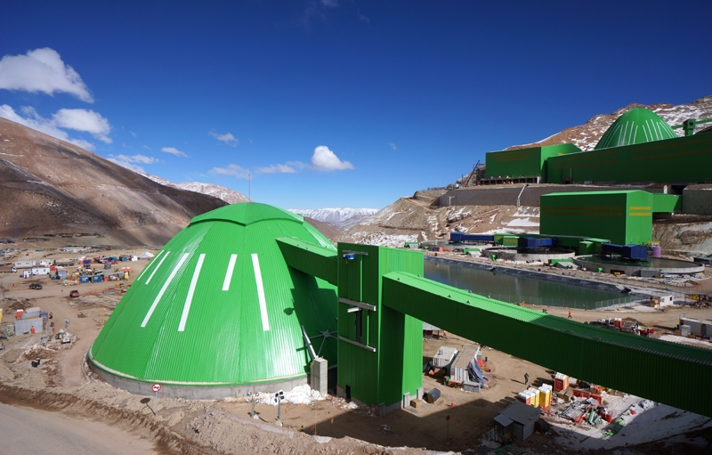 Bright green coating helps Geometrica domes withstand harsh Andean climate