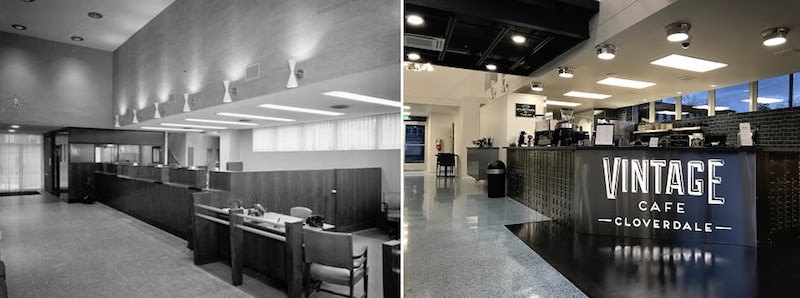 The old bank compared to the new cafe