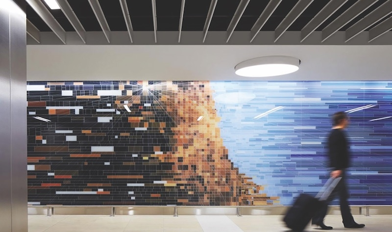 Decorative Vitro glass installation in O'Hare airports Terminal 5 expansion