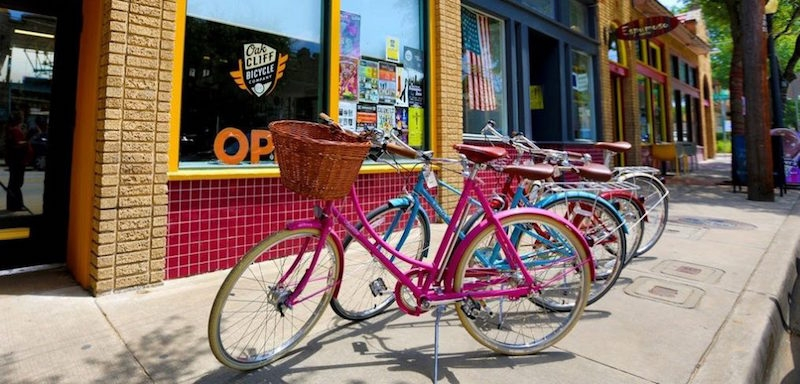 Colorful bikes parked on the street in Dallas