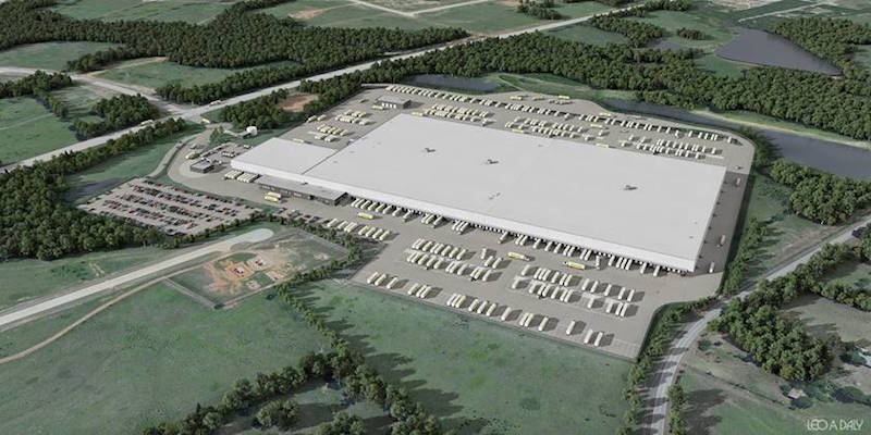 Aerial rendering of the new Dollar General distribution center designed by Leo A Daly
