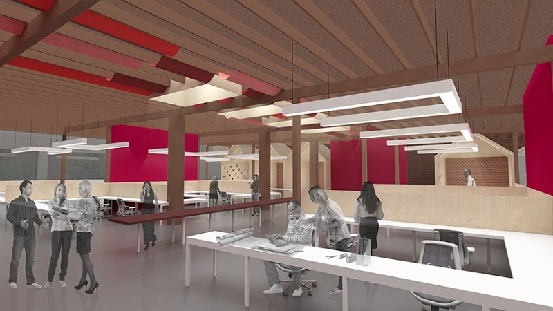Rendering of new office for NAC|Architecture, Los Angeles. Courtesy of NAC|Archi