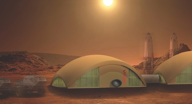 Exterior of a Mars building prototype