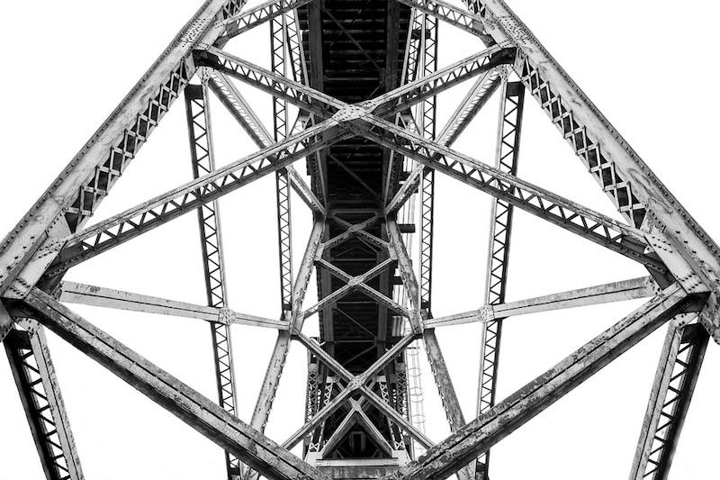A steel bridge from underneath