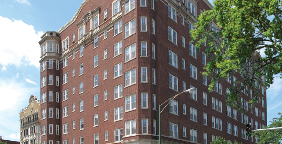 The Pomeroy Senior Apartments building, in Chicagos Bryn Mawr district. The ext