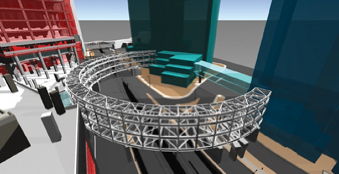 BIM model by the Walter P Moore firm showing the coordination of civil and struc