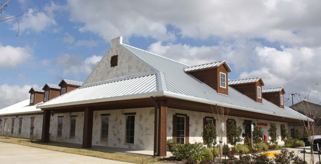 A custom metal building serves as the home of Ron Cleveland Construction Company
