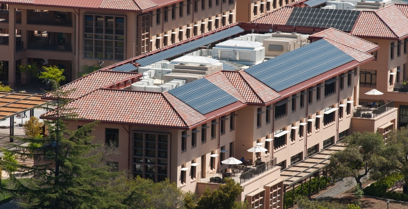 Photovoltaic panels atop the Knight Management Center at the Stanford Graduate S