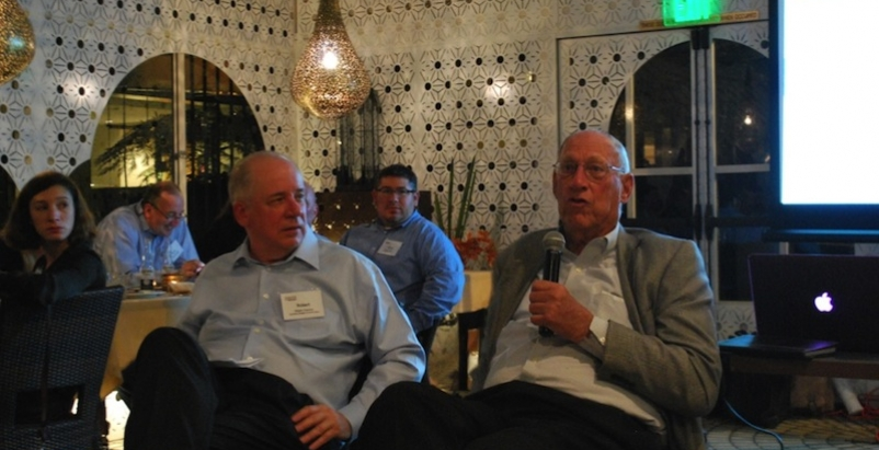 Gensler founder Arthur Gensler (right) talked with BD+C Editorial Director Rober