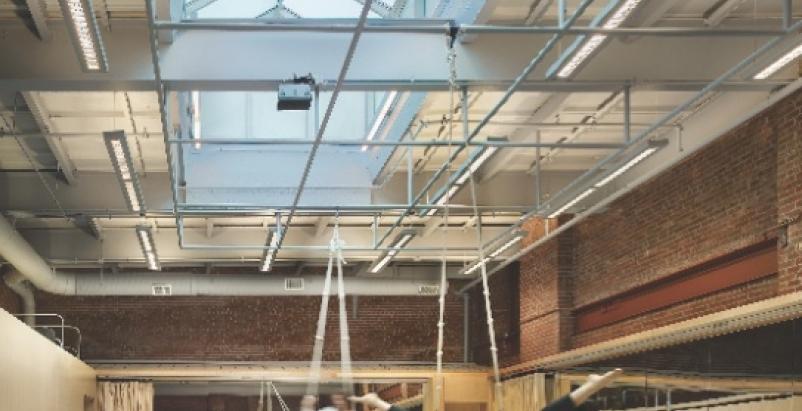 The dance/rehearsal studio at Indiana Universitys IU Cinema, an example of high