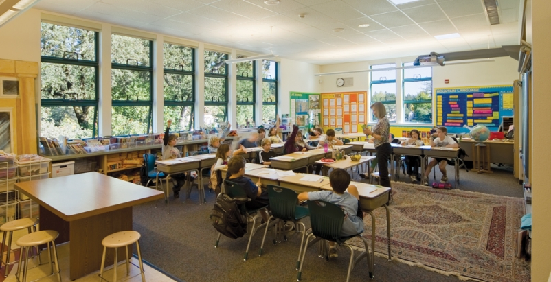 Classroom at Ross (Calif.) School with balanced daylighting. School districts ar