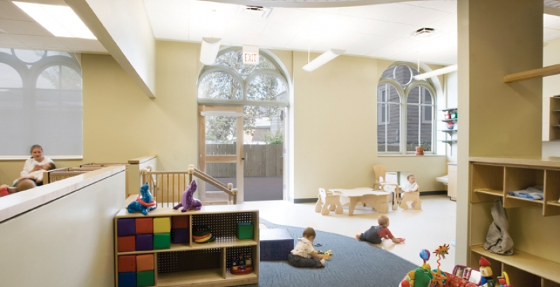 To maximize daylight and views for the children, alternating windows of the firs