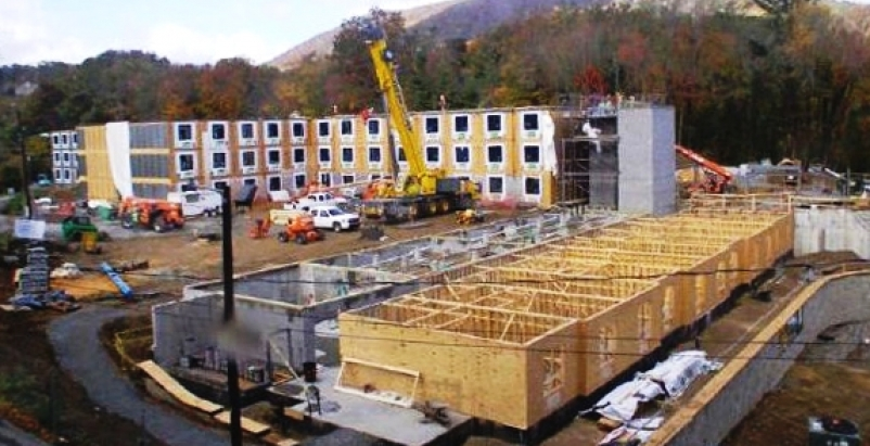 During the construction of Mountaineer Hall, 129 modules were set and sealed in