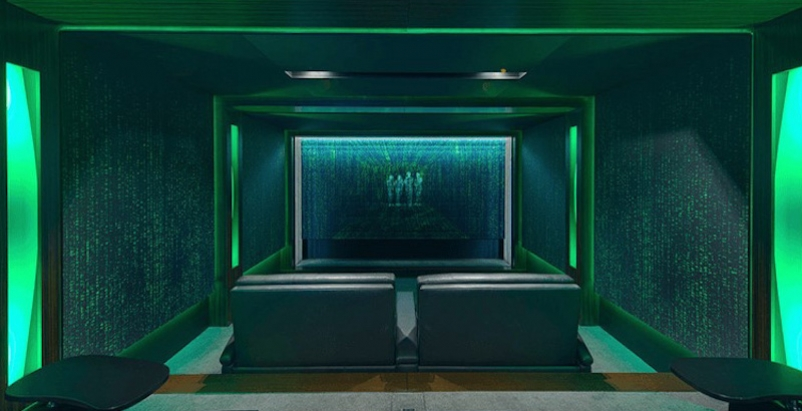 Rendering of a Matrix-style theater