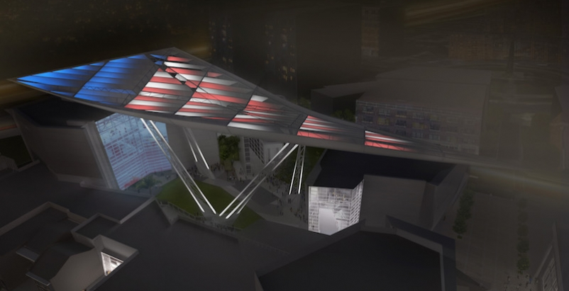 The Canopy of Peace with American flag colors projected on it