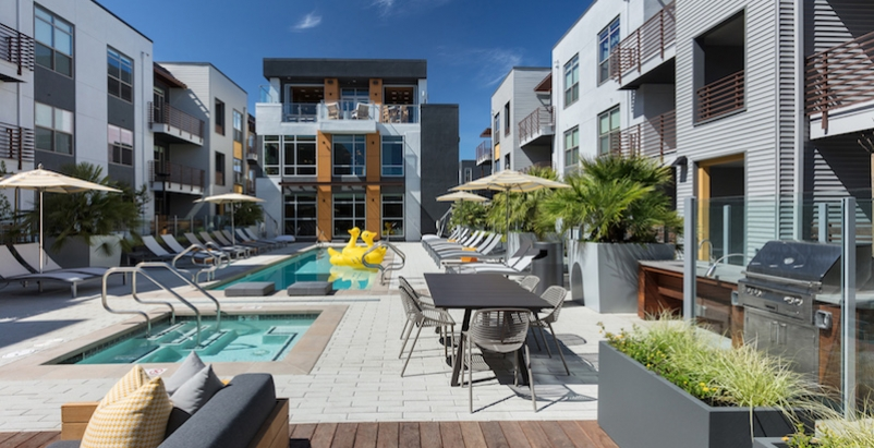 A rendering of the pool and deck space at Elan Menlo Park, designed by KTGY