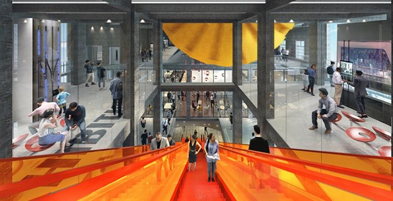 The escalator for the Line 7 Metro entrance