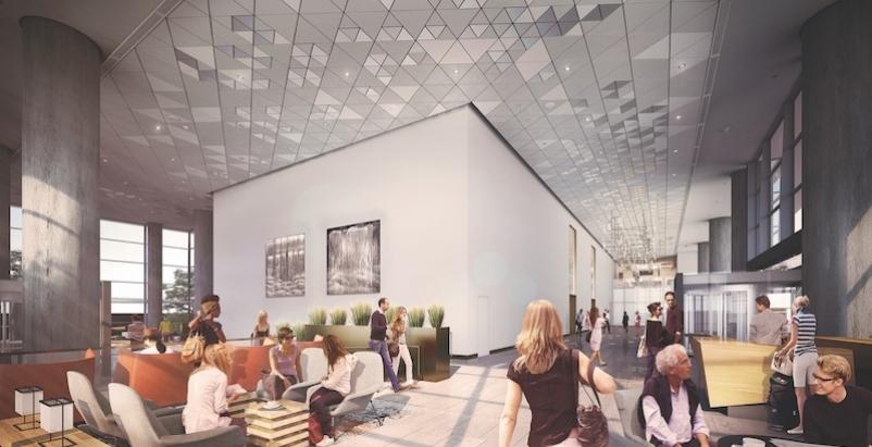The lobby of the Hyatt Regency in Seattle