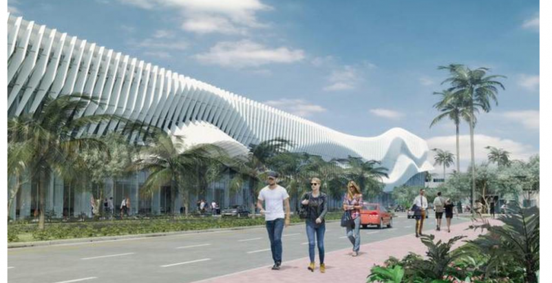 A white wavy faade would distinguish a renovated Miami Convention Center. The c
