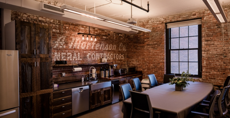 The kitchenette at Mortenson Construction's new Portland office